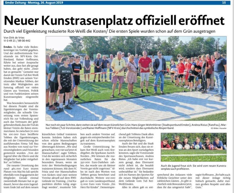 TuS Rot-Weiß: Inerhalb von zweieinhalb Monaten zu Kunstrasenplatz. Ein Bericht der Emder Zeitung