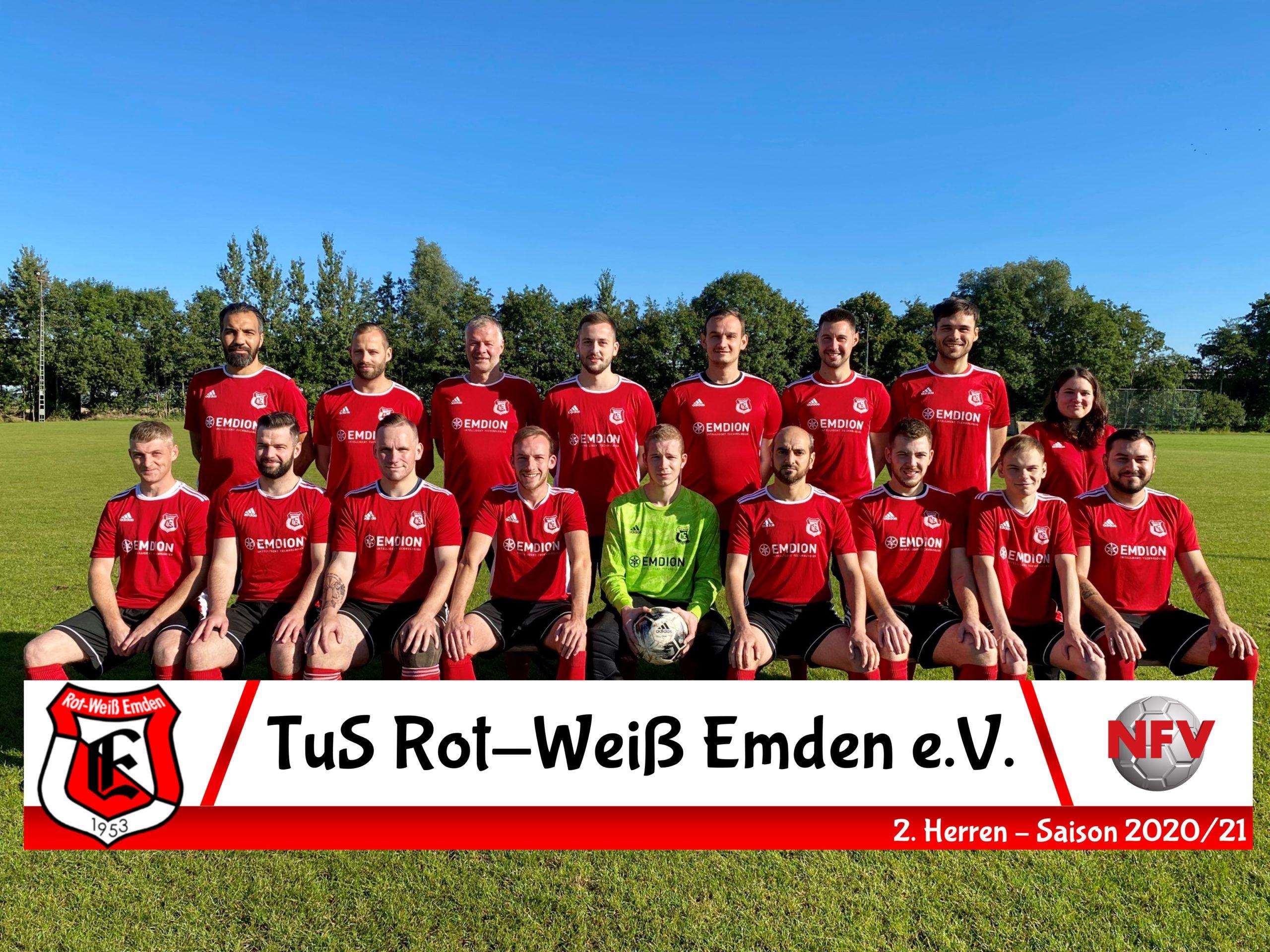 Mannschaftsfoto 2. Herren TuS Rot-Weiß Emden Saison 20/21