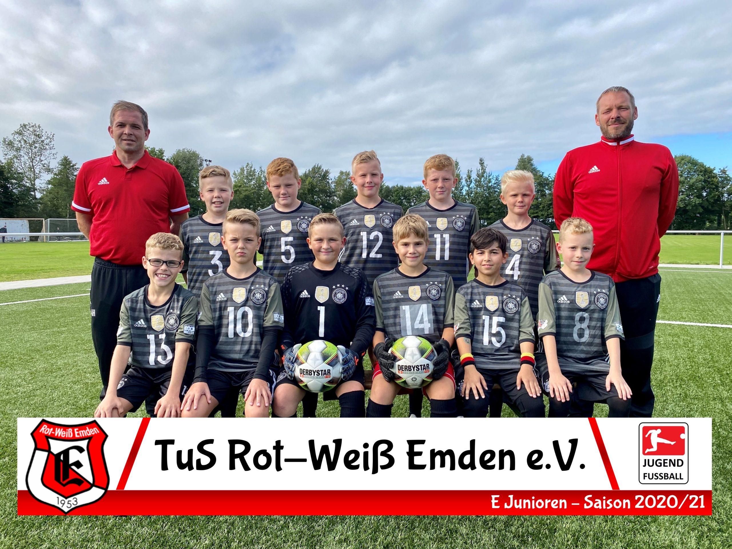 Mannschaftsfoto TuS Rot-Weiß Emden E1-Junioren Saison 20/21