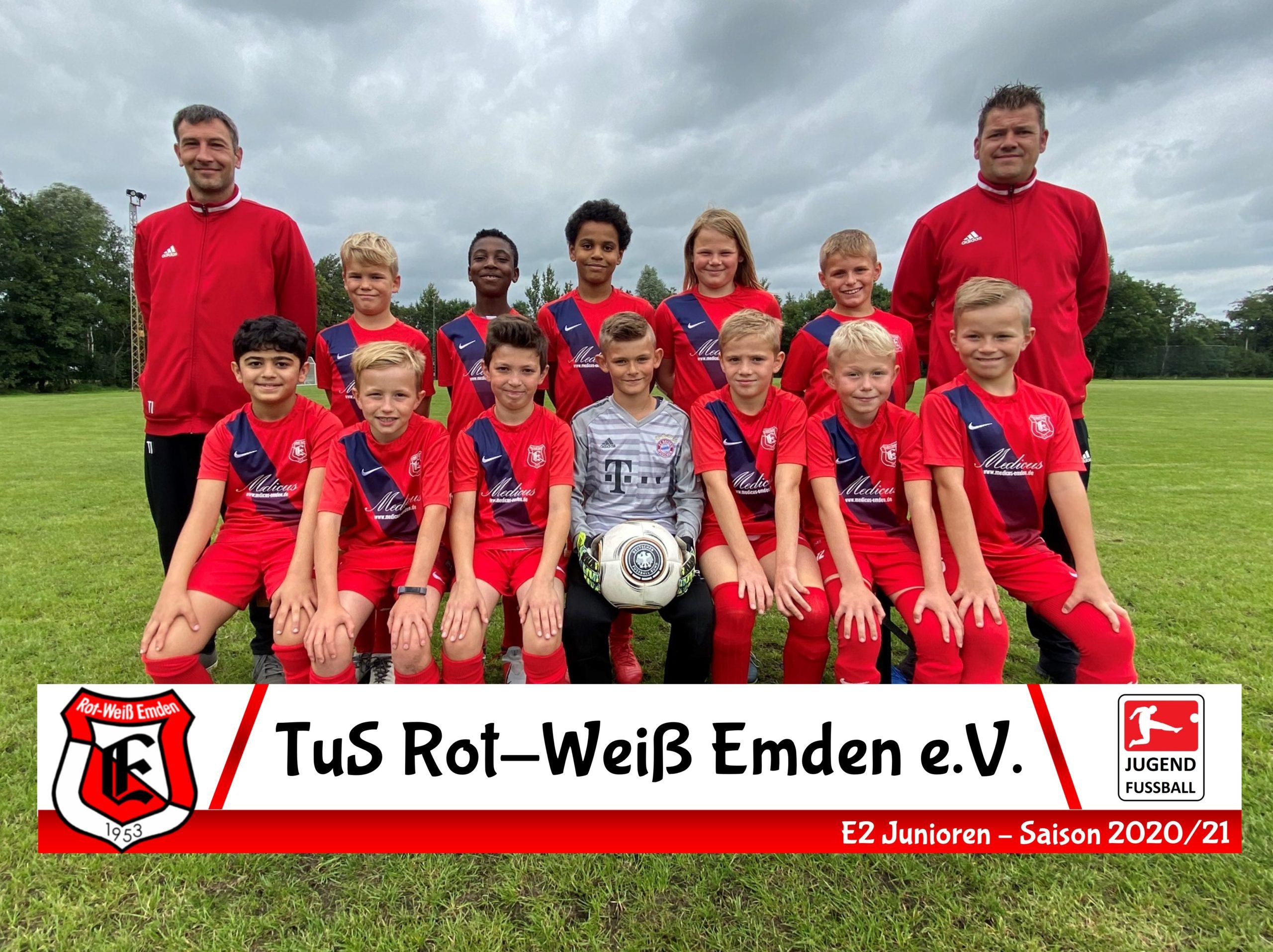 Mannschaftsfoto TuS Rot-Weiß Emden E2-Junioren Saison 20/21