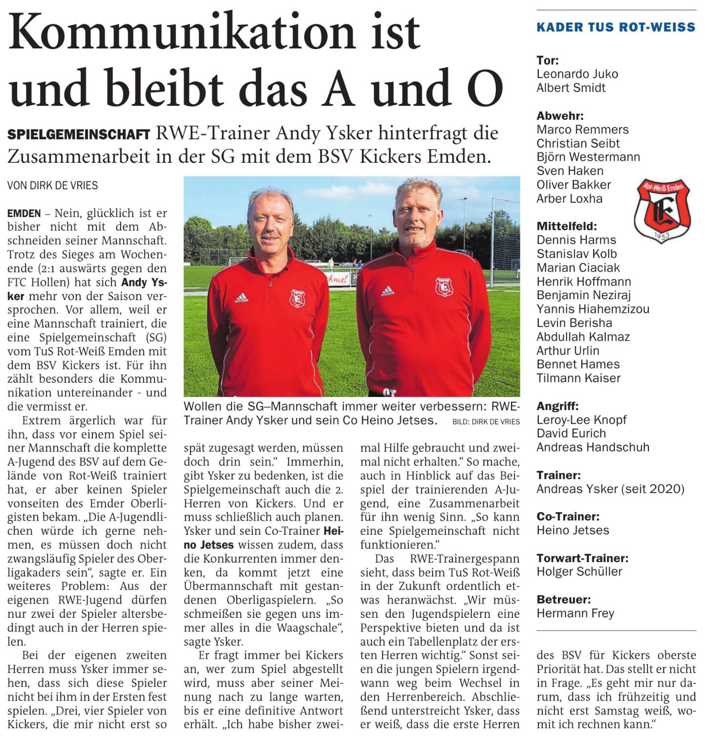 RWE-Trainer Andy Yasker hinterfragt die Zusammenarbeit in der SG mit dem BSV Kickers Emden
