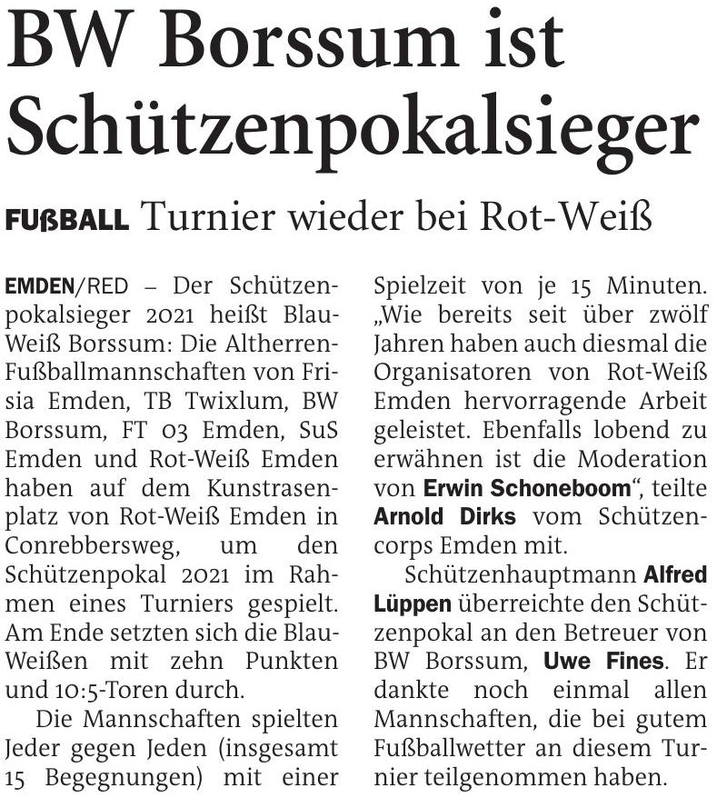 Schützenpokal 2021: Turnier wieder beim TuS Rot-Weiß Emden